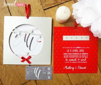 un faire part de pacs en rouge et blanc avec de l 39 amour dedans. Black Bedroom Furniture Sets. Home Design Ideas