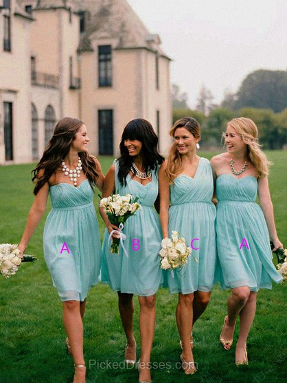 Chiffon A-line Sweetheart Short/Mini Pleats Bridesmaid Dresses