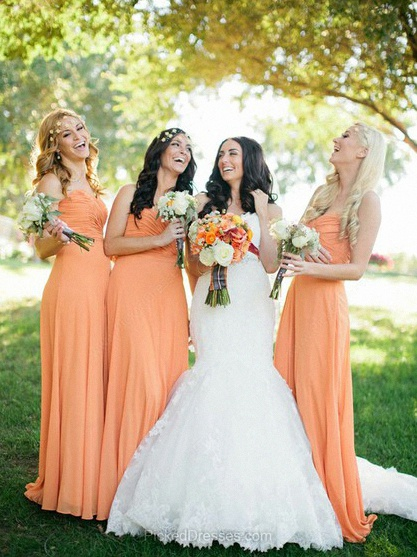 Chiffon Sheath/Column Sweetheart Floor-length Pleats Bridesmaid Dresses