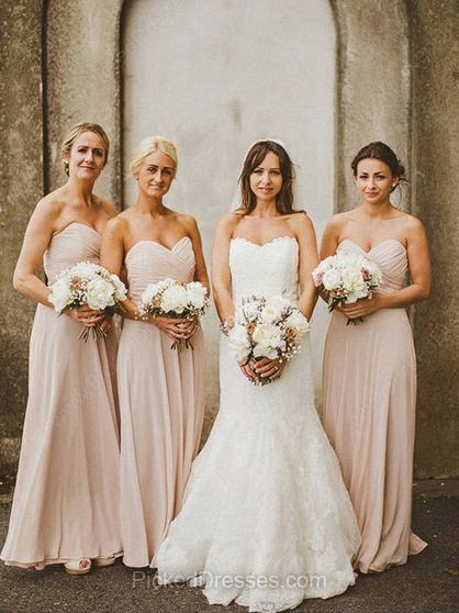 Chiffon Empire Sweetheart Floor-length Pleats Bridesmaid Dresses