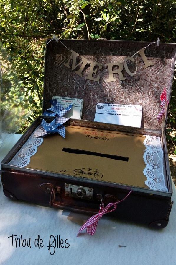 urne de mariage vintage valise