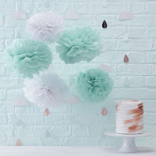 Décoration thème rose cuivré menthe